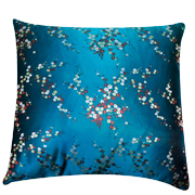 Asian Brocade Cushion Cover Teal