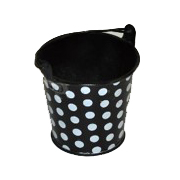 Black and White Polka Dot Tin Bucket Medium Size