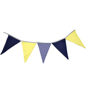 Bunting Navy Blue, Yellow & White Stripe