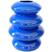 Ceramic Pebble Stack Vase Small Cobalt Blue
