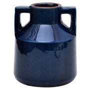 Ceramic Handled Vase Cobalt Blue Medium
