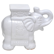Ceramic Indian Elephant Stool White