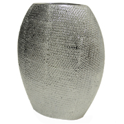 Ceramic Oval Vase Silver Texture