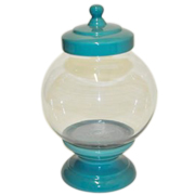 Cookie Jar Round Base and Lid Aqua