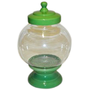 Cookie Jar Round Base and Lid Green