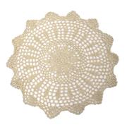 Crochet Doily Round Beige