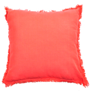 Cushion Cover Cotton Frayed Edge Coral