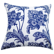Cushion Cover Floral Print Blue on White