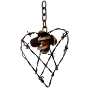 Decorative Heart Wire with Rose Small