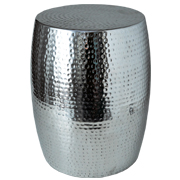 Drum Hammered Stool Silver