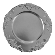 Floral Under Plate Silver