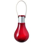 Glass Light Bulb Vase Red