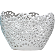 Lace Vase Oblong White