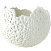 Lace Vase Round Solid White