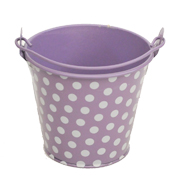 Lilac and White Polka Dot Tin Bucket Mini Size