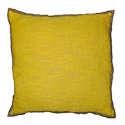 Linen & Hessian Edge Cushion Yellow
