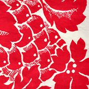 Linen Napkin Red and White Floral