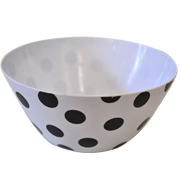 Melamine Salad Bowl Black and White Polka Dot Large