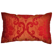 Plush Velvet Flocked Taffeta Damask Cushion Cover Orange and Red