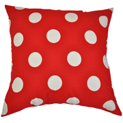 Polka Dot Cushion Red and White