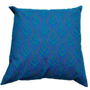 Shweshwe Print Cushion Cover Wave Turquiose, Lime Green and Orange