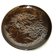 Side Plate Brown Embossed Floral