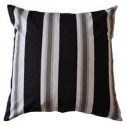 Stripe Printed Cushion Cover Black and Silver on White