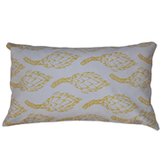 Suede Printed Protea Cushion Cover Yellow on White