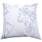 Twill Cushion Cover World Map Print