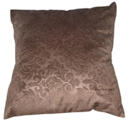 Velour cushion Cover Embossed Damask Choc Brown