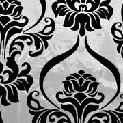 Velvet Flocked Taffeta French Damask Overlay Black on White