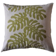 Weave Delicious Monster Leaf Print Cushion Cover Green on Off White