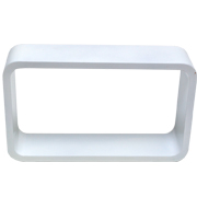 White Riser Rectangle Round Corner D