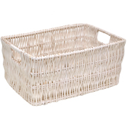 White Wicker Basket Medium
