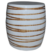 Wood Grain White Stool